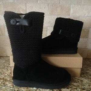16e009707ac Details about UGG Shaina Black Button Suede Knitted Cuff Fur Tall / Ankle  Boots Size 6 Womens