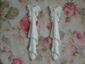 New! Shabby Chic Large Bow Drops Draped Fringed PR Furniture Applique Pediment