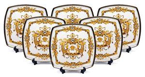 Royalty-Porcelain-White-10-034-Dinner-Plates-Medusa-Greek-Key-24K-Gold-Set-of-6