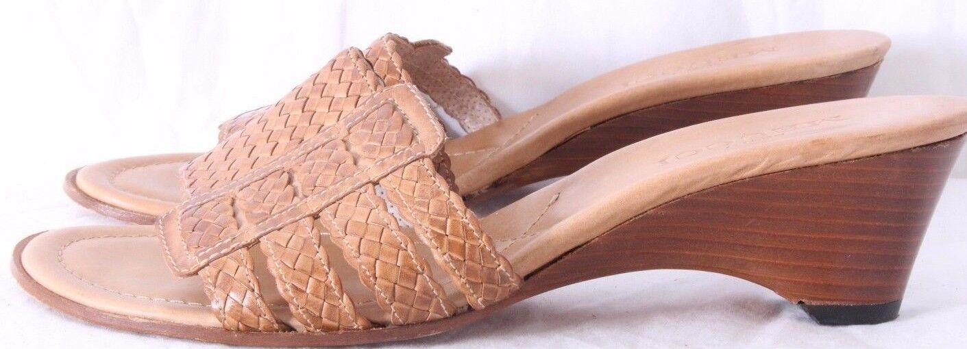 Sesto Meucci Italian Nude Woven Leather Open Toe Slide Heel Women's US 7M