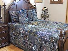 Blue Decorative Indian Style Beaded Bedding Sari Luxury Duvet Pillow Shams King