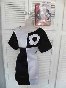 """""""années 60 Groovy Baby Mini Shift Dress"""" Fancy Dress Costume Par Smiffys + Curly Wig éConomisez 50-70%"""