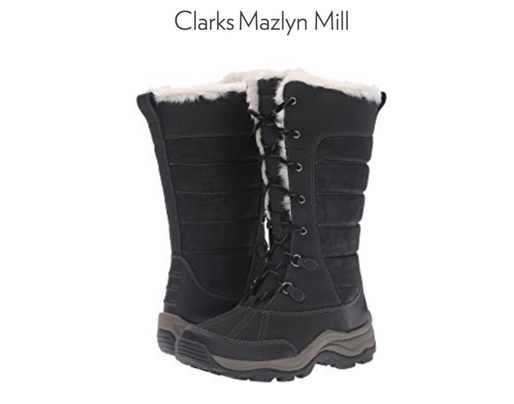 NEW CLARKS MAZLYN MILL BLACK BLACK BLACK TALL WINTER BOOTS WOMENS 8 INSULATED c2933c