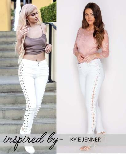 New Trendy Women White Lace Up Kylie Jenner Skinny Jeans Trousers Size 6-14