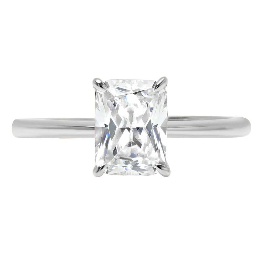 0.8ct RadiantCut Bridal Solitaire Statement Promise Ring Solid 14k White gold