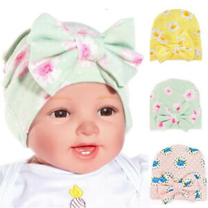 54ef649f02f Image is loading Infant-Newborn-Baby-Girls-Beanie-Floral-Nursery-Hospital-