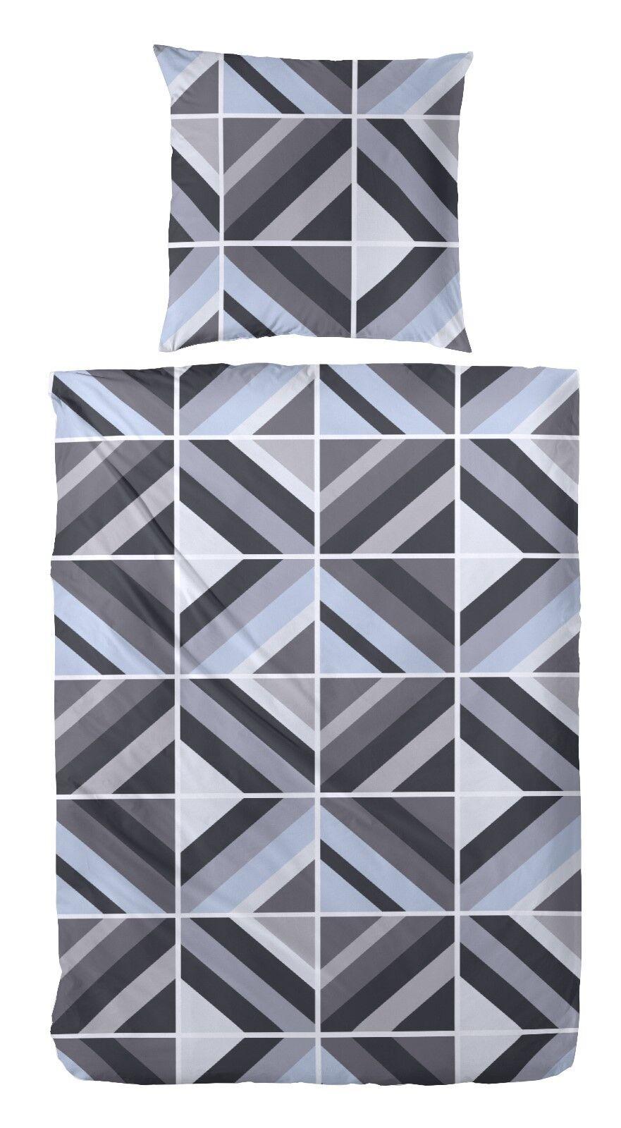 4 tlg. Biber Bettwäsche blau grau schwarz 2x80x80+135x200 cm  173050-038B10