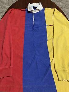 VTG-Nautica-Sailing-Colorblock-Thick-Mens-Long-Sleeve-Rugby-Polo-Shirt-XL-RARE