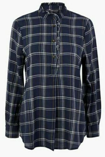 EX M/&S LADIES CHECKED LONGLINE BLOUSE VARIOUS SIZES
