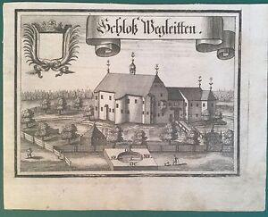Kupferstich-SCHLOSS-WEGLEITEN-Oberoesterreich-Ansicht-Michael-Wening-1721