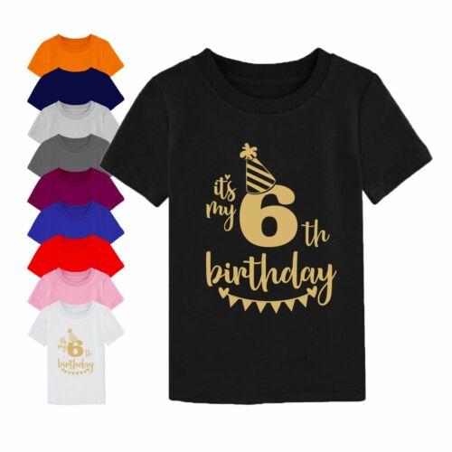 6th Birthday Gift T-Shirt Its My Sixth Birthday Cake Children Boy Girl Kids Top