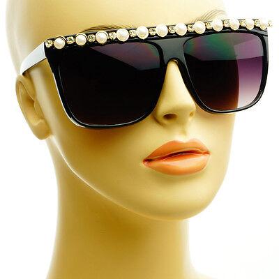 Pearls Gems Rhinestones Womens Designer Style Square Flat Top Sunglasses Black