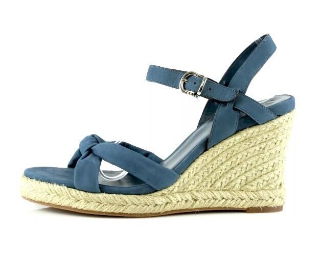 Cole Haan Air Cynthia.Mid.Sand 9641 Donna Blue Leather Wedges Sandals Shoes 8.5