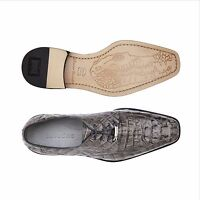 Belvedere Mens Shoes Gray Chapo Hornback Crocodile Classic Exotic Leather 1465