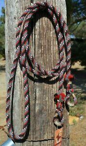 3-8-034-Alpaca-Hair-Loop-Roping-Trail-Reins-6-St-x-10-ft-Black-Red-White-Grey