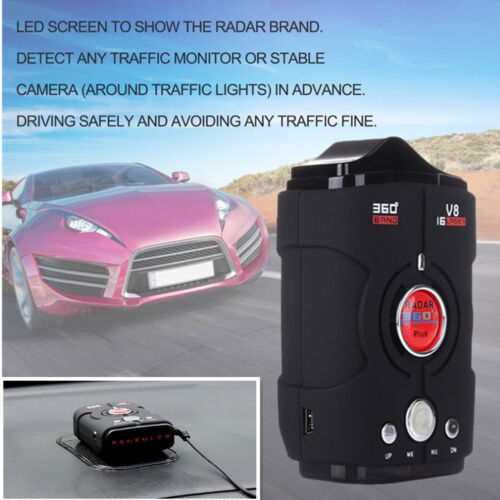 360° Laser Detection Car Radar Detector LED Displays Full Bands For Safe Driving