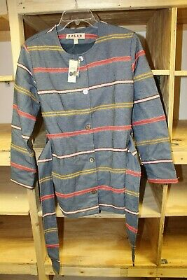 Piccadilly Small Anthropologie Dolan Left Coast Womens Jacket Blue Striped Coat