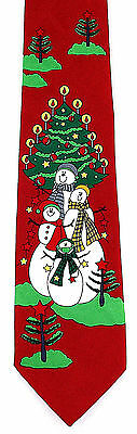 Snowmen Family Christmas Tree Mens Necktie Snowman Xmas Holiday Neck Tie New