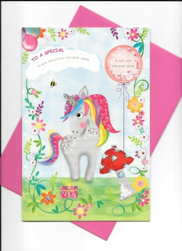 UNICORN GIRLS STICKER AGE CARD WITH PERSONALISED STICKERS AGE AND RELATIONSHIP