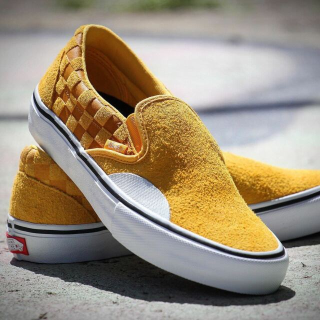 VANS Mens Slip on Pro Hairy Suede Banana Yellow Checker Skate Shoes Size 7