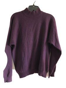 Charter-Club-100-Cashmere-Sweater-Mock-Turtleneck-Purple-Size-M