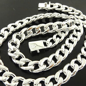 Necklace Pendant Chain Genuine Real 925 Sterling Silver S//F Solid Curb Link 75cm