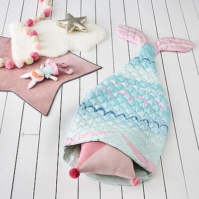 NEW Adairs Kids Sleeping Bag 140cm Mermaid Tail Mint