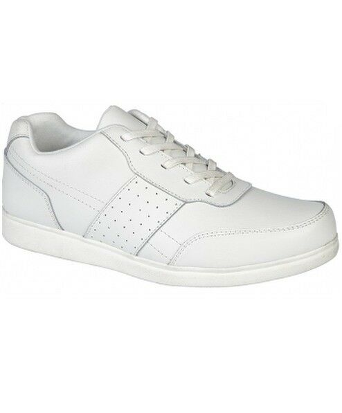 DEK Mens White Strike Lace Up Bowl Bowls Bowling shoes T886G