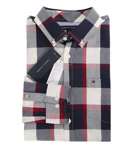 Tommy Hilfiger Men/'s Long Sleeve Button-Down Plaid Casual Shirt $0 Free Ship