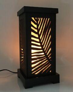 Asian-Oriental-Wood-Cut-Thai-Vintage-Lamp-Shade-Handmade-Maple-Leaf-Bamboo-Decor