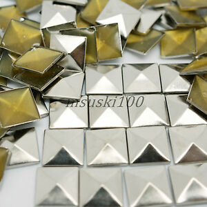 100-X-PYRAMID-HOT-FIX-IRON-ON-SQUARE-STUDS-METAL-CRAFTS-SILVER-GOLD-BLACK-NEW