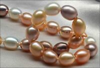 "HUGE 18""8X10MM SOUTH SEA GENUINE GOLD PINK DROP PEARL NECKLACE LUSTER AAA nr48"