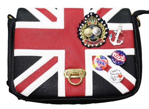 SAC A MAIN Femme UNION JACK fashion UK avec pin/'s /& ecussons Noir SO BRITISH