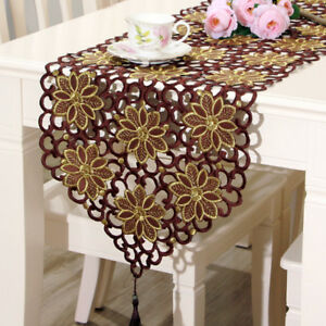 Vintage-Brown-Embroidered-Lace-Floral-Table-Runner-Wedding-Party-Satin-Fabric