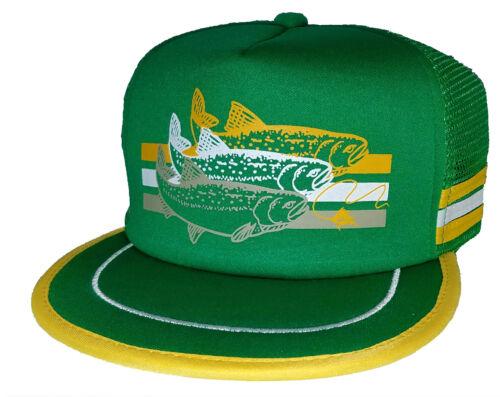 Trout Green 3 Striped  Snapback Mesh Trucker Hat Cap Fly Fishing