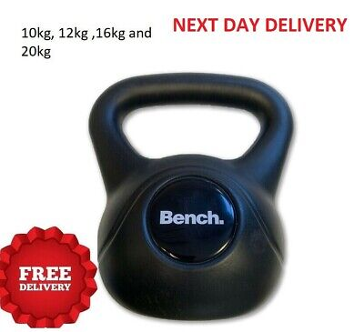 4-10KG Vinyl Kettlebell Weight Set Stand Gym Fitness//Strength Training Black UK