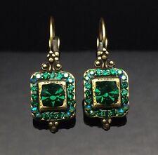 Swarovski Antique Lantern Emerald Green Crystal Earring Wedding Diamante Gold