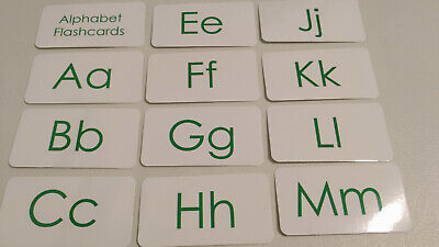 Green text laminated Alphabet Flash Cards  Preschool educational learning  activ | eBay