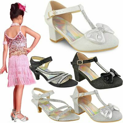 Girls Kids Childrens Party Sandals Diamante Wedding Low Heel Shoes Dance Size | eBay