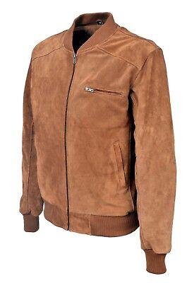Men/'s Retro Suede Leather Bomber BLACK Classic Style 80/'S Italian Leather New