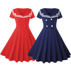 Womens-Vintage-Rockabilly-50s-Sailor-Short-Sleeve-Party-Cocktail-Swing-Tea-Dress