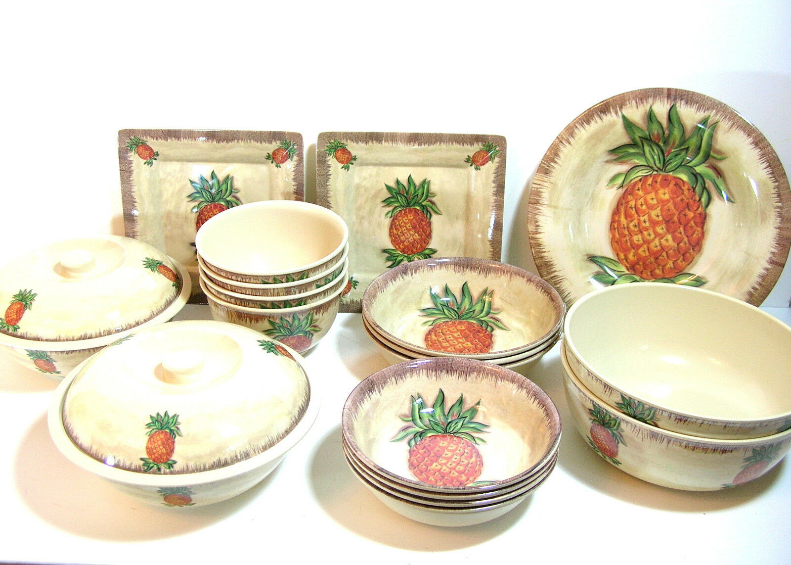 Plastic Dishware With Pineapples, 20 Pieces, Outdoor or Indoor Dining