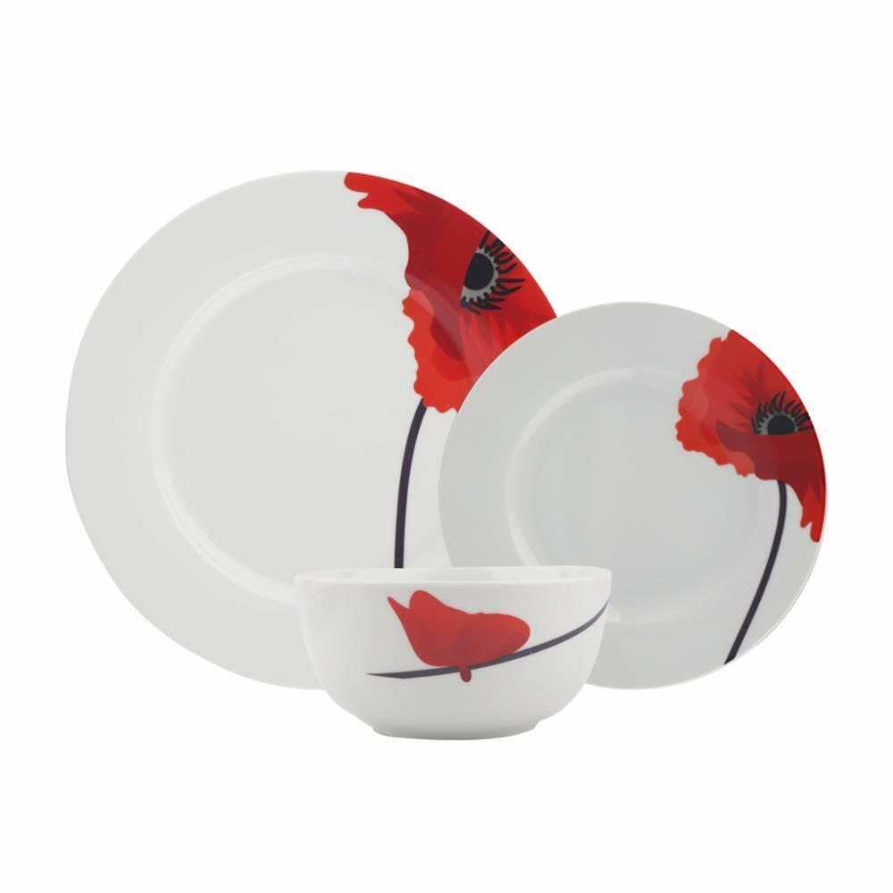 18 Pièce Diner Ensemble de vaisselle en porcelaine Assiette Bol Repas service pour 6 Rouge Coquelicot