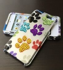 For iPod Touch 5th & 6th Gen - HARD DIAMOND BLING SKIN CASE CUTE DOG PUPPY PAWS