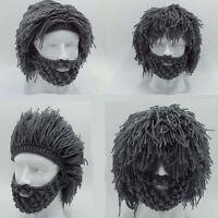 Warm Beard Hat Barbarian Looter Crochet Beanie Cap Grey Schnurrbart Cosplay New