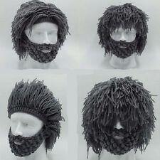 Grey Warm Beard Hat Barbarian Looter Crochet Beanie Cap Grey Schnurrbart Cosplay