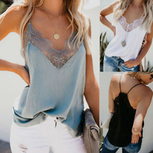 Women-Sexy-V-Neck-Lace-Vest-Sleeveless-Tank-Blouse-Summer-Cami-Camisole-Tank-Top