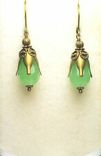 Victorian Art Nouveau Gothic Style Antique Brass Green Opal Crystal Earrings