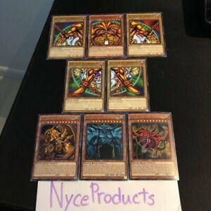 YUGIOH-EXODIA-EGYPTIAN-GOD-CARDS-OBELISK-SLIFER-RA-8-CARD-SET-LDK2-MINT