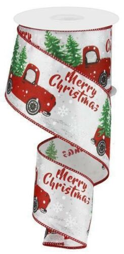 """2.5"""" Christmas White With Silver Glitter Accent Red Truck Wired Ribbon 10 Yards"""